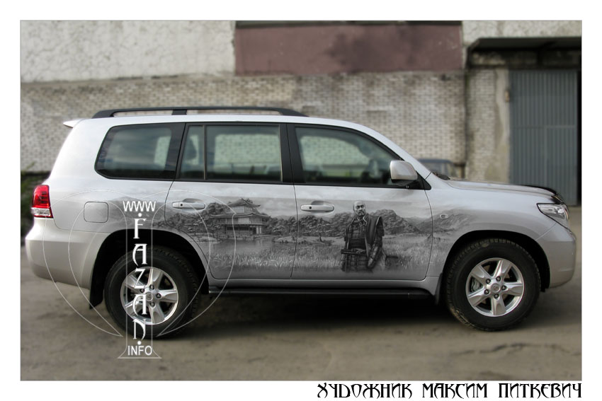 Аэрография самураев на автомобиле TOYOTA LAND CRUISER 200, фото 12.