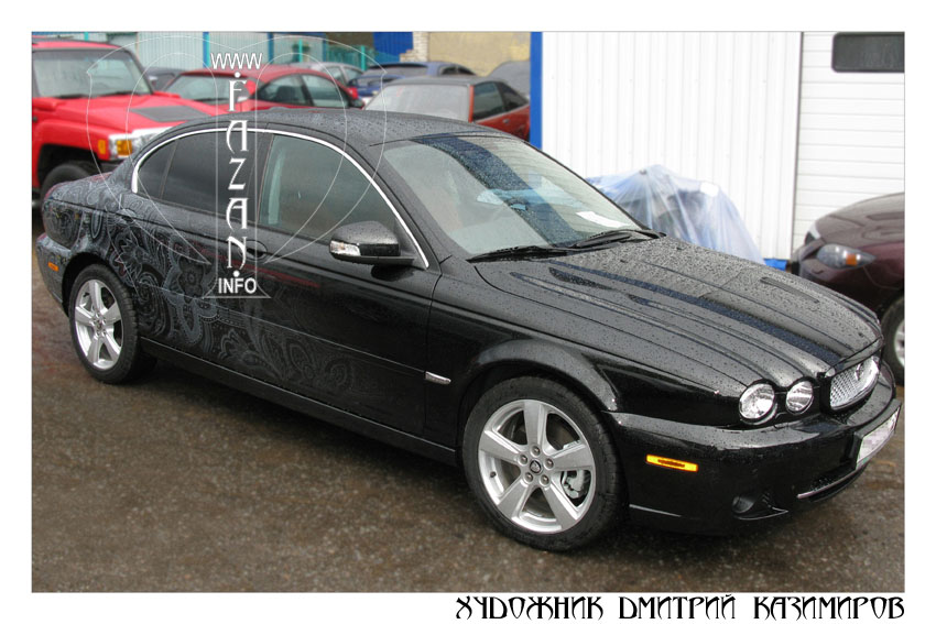 Аэрография Пейсли на автомобиле Jaguar X-Type. Фото 14.