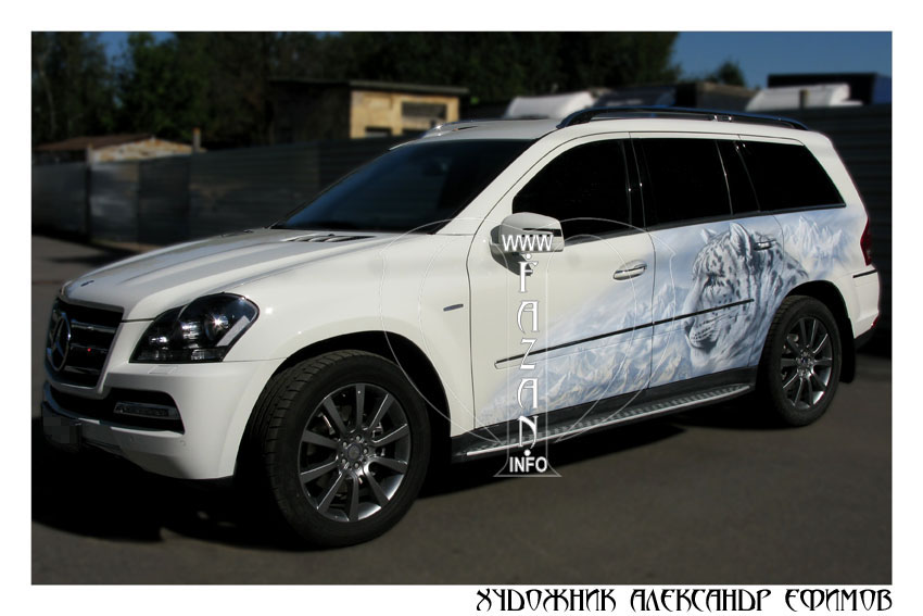 Аэрография снежного барса на MERCEDES BENZ GL 350, фото 13