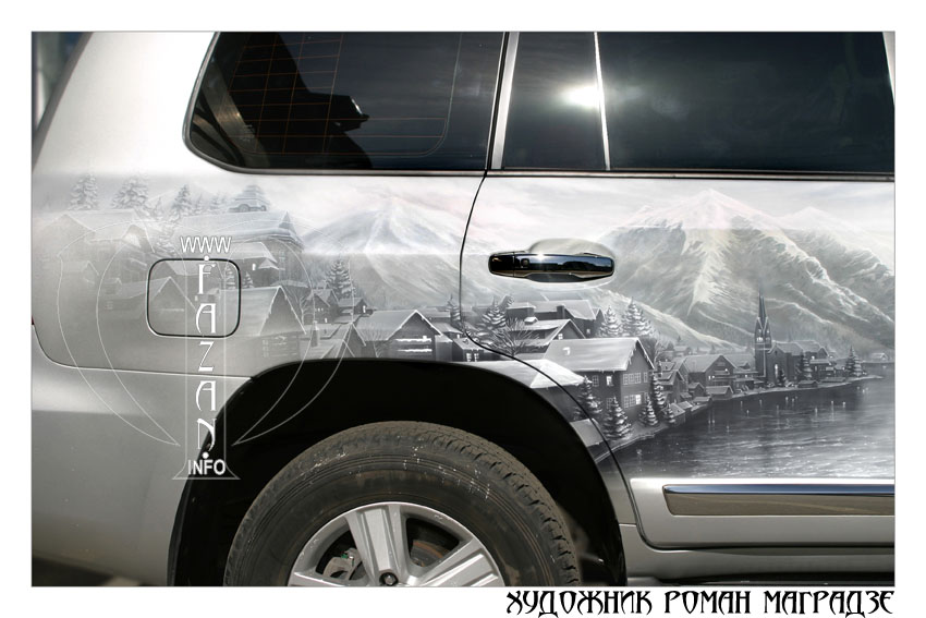 Аэрография на серебристом автомобиле Toyota Land Cruiser 200. Фото 05.